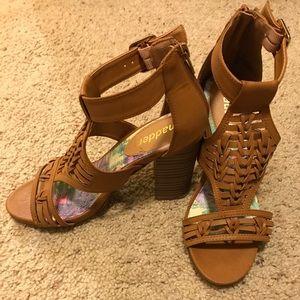 Tan straps Madden high heel sandals size 6